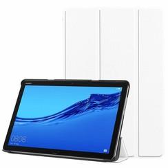 Case2go - Case for Huawei MediaPad M5 Lite 10.1 - Slim Tri-Fold Book Case - Lightweight Smart Cover - White