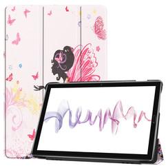 Case2go - Case for Huawei MediaPad M6 10.8 - Slim Tri-Fold Book Case - Lightweight Smart Cover - Flower Fairy