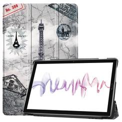 Case2go - Case for Huawei MediaPad M6 10.8 - Slim Tri-Fold Book Case - Lightweight Smart Cover - Eiffeltower