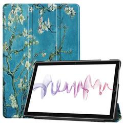 Case2go - Case for Huawei MediaPad M6 10.8 - Slim Tri-Fold Book Case - Lightweight Smart Cover - White bloom