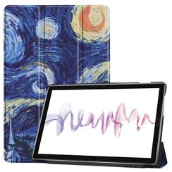 Case2go - Case for Huawei MediaPad M6 10.8 - Slim Tri-Fold Book Case - Lightweight Smart Cover - Starry sky