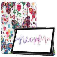 Case2go - Case for Huawei MediaPad M6 10.8 - Slim Tri-Fold Book Case - Lightweight Smart Cover - Butterflies