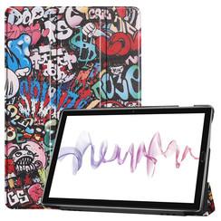 Case2go - Case for Huawei MediaPad M6 10.8 - Slim Tri-Fold Book Case - Lightweight Smart Cover - Graffiti