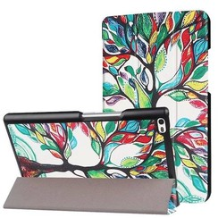 Case2go - Case for Lenovo Tab 4 8.0 - Slim Tri-Fold Book Case - Lightweight Smart Cover - Farbiger Baum