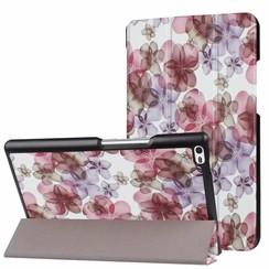 Case2go - Case for Lenovo Tab 4 8.0 - Slim Tri-Fold Book Case - Lightweight Smart Cover - Flowers