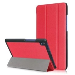 Case2go - Case for Lenovo Tab 4 8.0 Plus - Slim Tri-Fold Book Case - Lightweight Smart Cover - Red