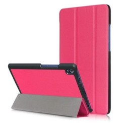 Case2go - Case for Lenovo Tab 4 8.0 Plus - Slim Tri-Fold Book Case - Lightweight Smart Cover - Hot Pink