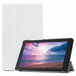 Case2go - Case for Lenovo Tab E8 (TB-8304F) - Slim Tri-Fold Book Case - Lightweight Smart Cover - White
