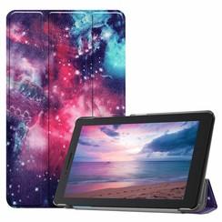 Case2go - Case for Lenovo Tab E8 (TB-8304F) - Slim Tri-Fold Book Case - Lightweight Smart Cover - Galaxy