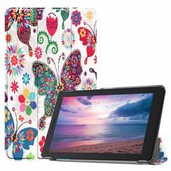 Case2go - Case for Lenovo Tab E8 (TB-8304F) - Slim Tri-Fold Book Case - Lightweight Smart Cover - Butterflies