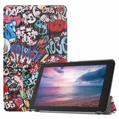 Case2go - Case for Lenovo Tab E8 (TB-8304F) - Slim Tri-Fold Book Case - Lightweight Smart Cover - Graffiti