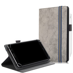 Universele 7/8 inch tablet hoes - Wallet Book Case - Grijs