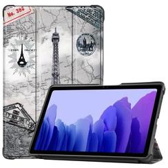 Case for Samsung Galaxy Tab A7 (2020) - 10.4 inch - Book Case Whiteh TPU Cover - Eiffeltower