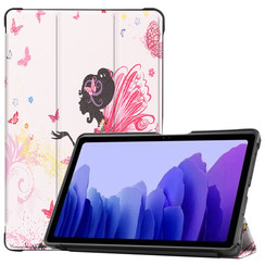 Case for Samsung Galaxy Tab A7 (2020) - 10.4 inch - Book Case Whiteh TPU Cover - Flower Fairy