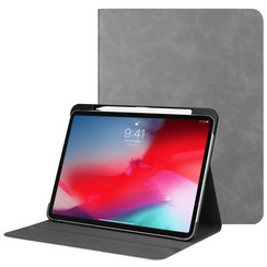 Apple iPad Pro 11 (2018) hoes - PU Leer Folio Book Case - Grijs