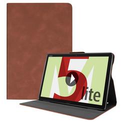 Huawei MediaPad M5 Lite 10.1 hoes - PU Leer Folio Book Case - Bruin