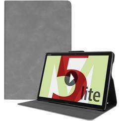 Huawei MediaPad M5 Lite 10.1 hoes - PU Leer Folio Book Case - Grijs