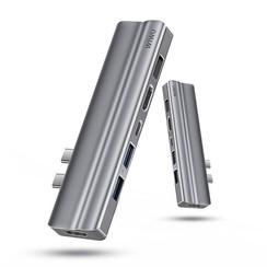 WIWU - USB-C Hub - 8 in 1 - Aluminium - Grijs