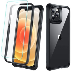 ESR Alliance - iPhone 12 Pro Max Hoes - Schokbestendige Back Cover - Full Body Protection - iPhone Hoes +2 Gratis Screenprotectors  - Transparant/Zwart