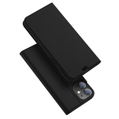 Dux Ducis - Case for iPhone 12 Mini - Ultra Slim PU Leather Flip Folio Case with Magnetic Closure - Black