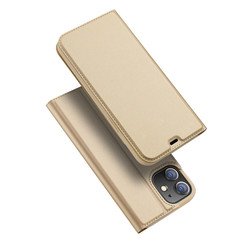 Dux Ducis - Case for iPhone 12 Mini - Ultra Slim PU Leather Flip Folio Case with Magnetic Closure - Gold