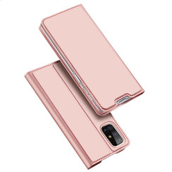 Dux Ducis - Case for Samsung Galaxy M31s - Ultra Slim PU Leather Flip Folio Case with Magnetic Closure - Rosé Gold