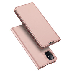 Dux Ducis - Case for Samsung Galaxy M51 - Ultra Slim PU Leather Flip Folio Case with Magnetic Closure - Rosé Gold