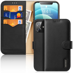 Dux Ducis - Case for iPhone 12 Mini - Hivo Series Magnetic Flip Case with Card Slot - Black