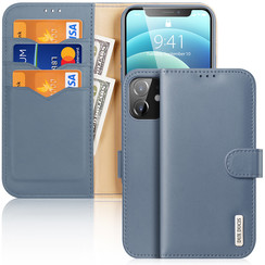 Dux Ducis - Case for iPhone 12 Mini - Hivo Series Magnetic Flip Case with Card Slot - Blue