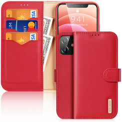 Dux Ducis - Case for iPhone 12 Mini - Hivo Series Magnetic Flip Case with Card Slot - Rot