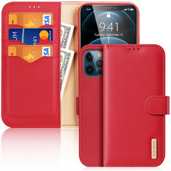 Dux Ducis - Case for iPhone 12 / iPhone 12 Pro - Hivo Series Magnetic Flip Case with Card Slot - Red