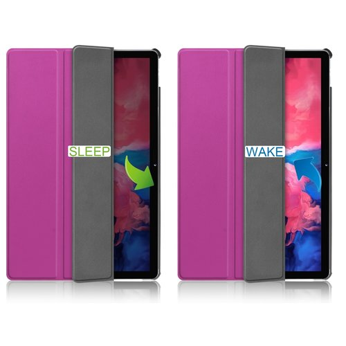 Cover2day Case for Lenovo Tab P11 - 11 Inch - Slim Tri-Fold Book Case - Lightweight Smart Cover - Purple