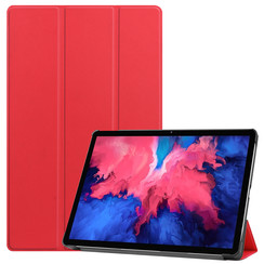 Lenovo Tab P11 Hoes - 11 Inch - Tri-Fold Book Case - Auto Sleep/Wake Functie - Rood