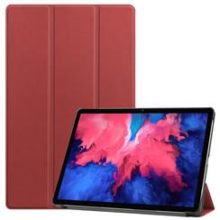 Lenovo Tab P11 Hoes - 11 Inch - Tri-Fold Book Case - Auto Sleep/Wake Functie - Donker Rood