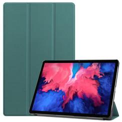 Lenovo Tab P11 Hoes - 11 Inch - Tri-Fold Book Case - Auto Sleep/Wake Functie - Donker Groen