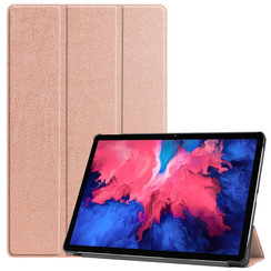 Case for Lenovo Tab P11 - 11 Inch - Slim Tri-Fold Book Case - Lightweight Smart Cover - Rose Gold