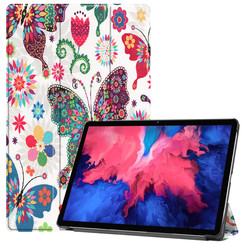 Case for Lenovo Tab P11 - 11 Inch - Slim Tri-Fold Book Case - Lightweight Smart Cover - Butterfly