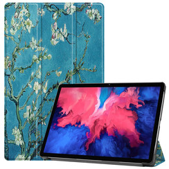 Case for Lenovo Tab P11 - 11 Inch - Slim Tri-Fold Book Case - Lightweight Smart Cover - White Blossom