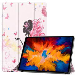 Lenovo Tab P11 Pro Hoes - 11.5 Inch - Tri-Fold Book Case - Auto Sleep/Wake Functie - Flower Fee