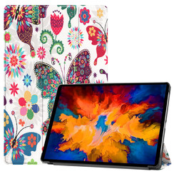 Lenovo Tab P11 Pro Hoes - 11.5 Inch - Tri-Fold Book Case - Auto Sleep/Wake Functie - Vlinders