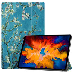 Lenovo Tab P11 Pro Hoes - 11.5 Inch - Tri-Fold Book Case - Auto Sleep/Wake Functie - Witte Bloesem