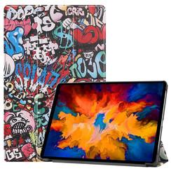 Lenovo Tab P11 Pro Hoes - 11.5 Inch - Tri-Fold Book Case - Auto Sleep/Wake Functie - Graffiti