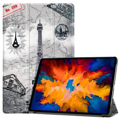 Lenovo Tab P11 Pro Hoes - 11.5 Inch - Tri-Fold Book Case - Auto Sleep/Wake Functie - Eiffeltoren