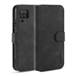 CaseMe - Samsung Galaxy A12 Hoesje - Magnetisch 2 in 1 Case - Ming Serie - Leren Back Cover - Zwart