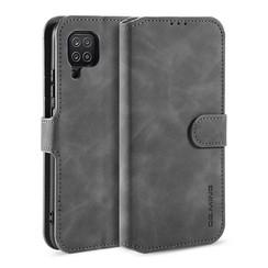 CaseMe - Samsung Galaxy A12 Hoesje - Magnetisch 2 in 1 Case - Ming Serie - Leren Back Cover - Grijs