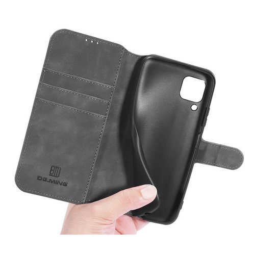 CaseMe CaseMe - Samsung Galaxy A12 Hoesje - Magnetisch 2 in 1 Case - Ming Serie - Leren Back Cover - Grijs