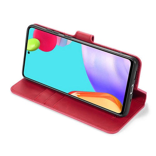 CaseMe CaseMe - Samsung Galaxy A52 Hoesje - Magnetisch 2 in 1 Case - Ming Serie - Leren Back Cover - Rood