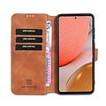 CaseMe CaseMe - Samsung Galaxy A72 Hoesje - Magnetisch 2 in 1 Case - Ming Serie - Leren Back Cover - Licht Bruin