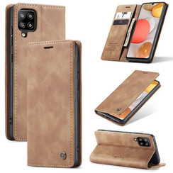 CaseMe - Case for Samsung Galaxy A42 5G - PU Leather Wallet Case Card Slot Kickstand Magnetic Closure - Light Brown