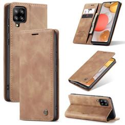 CaseMe - Samsung Galaxy A42 5G hoesje - Wallet Book Case - Magneetsluiting - Licht Bruin